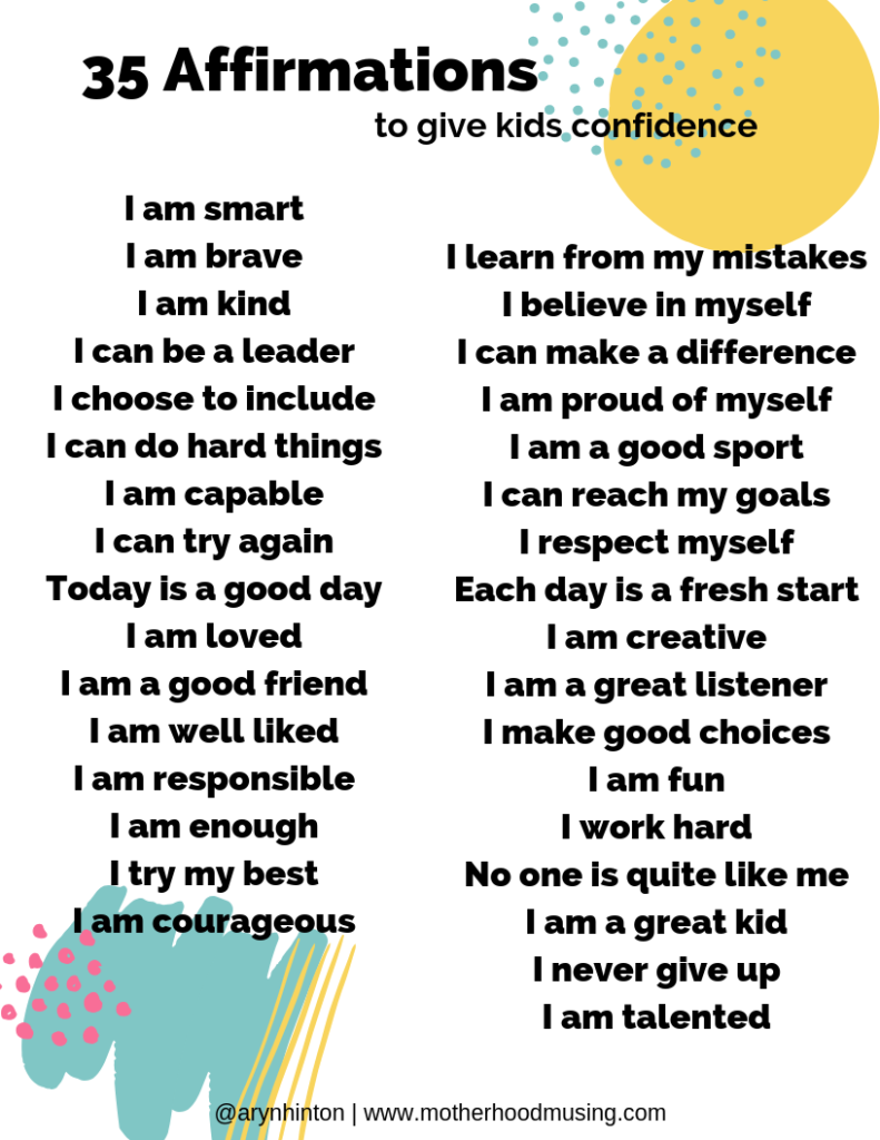 Black and White List of 35 Positive Affirmations for Kids